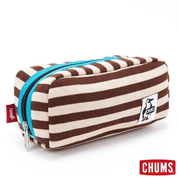 CHUMS 日本 Sweat 經典收納包 化妝包 旅行包 淺棕條紋 CH6006312622