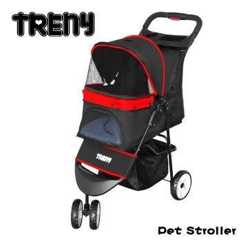 TRENY 快速收合 高級寵物推車-紅 附杯架跟置物籃 寵物車 狗推車 貓推車 YB501-R