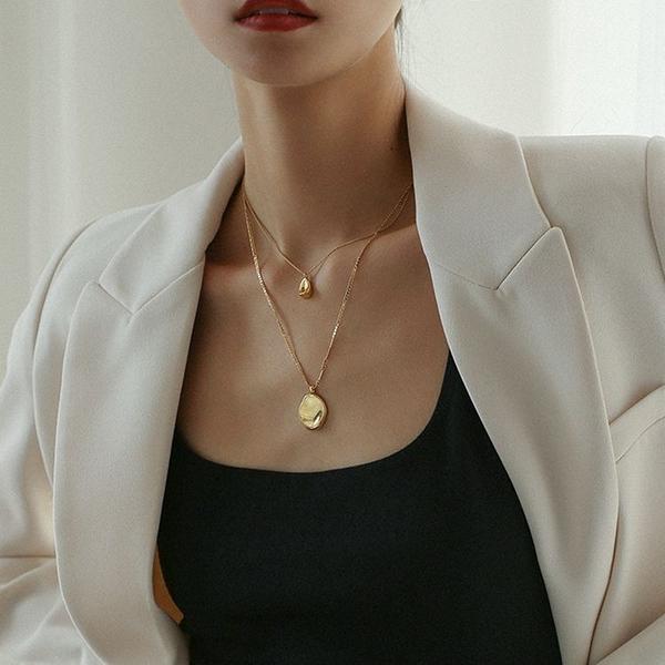 歐美小眾設計鍍金不規則圓牌雙層項鏈女ins冷淡風疊戴簡約鎖骨鏈
