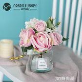 現代小清新假花仿真花擺件北歐裝飾花束客廳塑料玫瑰花餐桌花擺設QM   JSY時尚屋