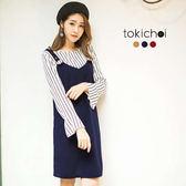 東京著衣-多色兩件式條紋搭肩帶洋裝-S.M(172736)