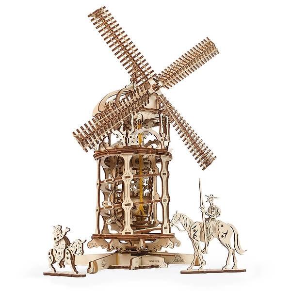 Ugears 自我推進模型 - 唐吉軻德的風車 Tower Windmill  來自烏克蘭.橡皮筋動力.機械驚奇 !