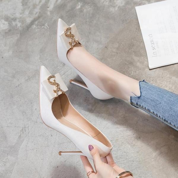 白色高跟鞋女2021年新款細跟春秋尖頭網紅設計感小眾氣質單鞋夏季 艾瑞斯AFT「快速出貨」