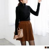 《CA653》仿絨面料點點印花腰鬆緊百摺短裙.2色 OrangeBear