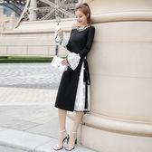 大韓訂製小洋裝仙氣網紗連身裙黑色長裙長袖洋裝顯瘦