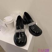 春季英倫風復古瑪麗珍鞋粗跟大頭娃娃鞋水晶冰花高跟樂福鞋女超級品牌【公主日記】