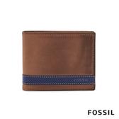 FOSSIL QUINN 真皮證件格皮夾-褐色X藍色 ML3644400