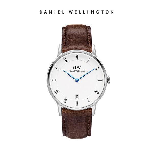 Daniel Wellington DW 手錶 34mm銀框 Dapper 深棕真皮皮革錶