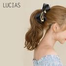 香蕉夾Lucias韓國發飾甜美蝴蝶結香蕉夾布藝發夾豎夾氣質馬尾頭飾 麥吉良品