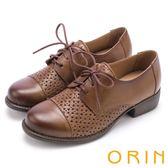 ORIN 復古潮流 趣味簍空綁帶牛皮低跟鞋-棕色