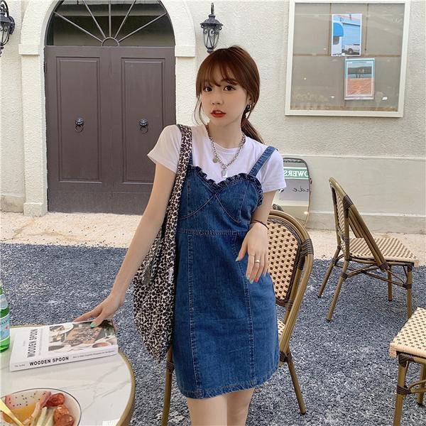 出清288 韓國風顯瘦波浪邊時尚ins牛仔吊帶無袖洋裝