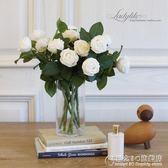 高仿真花假花 雙頭迷你保濕手感玫瑰花束 美式簡約裝飾花 概念3C旗艦店