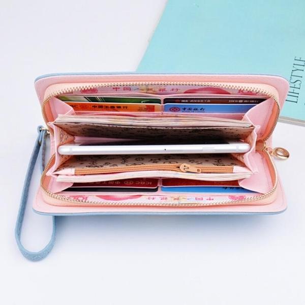 錢包女長款韓版手拿包女士多功能小清新零錢卡包拉鏈大容量手機包 青木鋪子