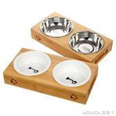 貓碗雙碗貓飯盆陶瓷貓盆不銹鋼貓食盆貓碗架貓餐桌貓糧碗貓糧盆 莫妮卡小屋