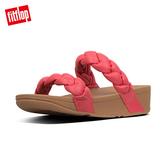 限定優惠價!  FitFlop】PLATT METALLIC LEATHER SLIDES髮辮造型涼鞋(熱情紅)