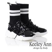 ★2018秋冬★Keeley Ann獨特魅力~英文字樣彈性襪套式短靴(黑色) -Ann系列