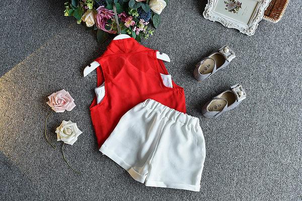 衣童趣♥韓版中小女童 雪紡無袖三件式套裝 休閒百搭外出款套裝 暢銷熱款