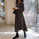 碎花裙 泫雅風裙子女秋季韓版內搭打底碎花連身裙氣質收腰過膝中長裙 愛麗絲
