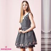 【SHOWCASE】俏麗星星跳舞女伶白領飾雙層紗襬洋裝(黑)