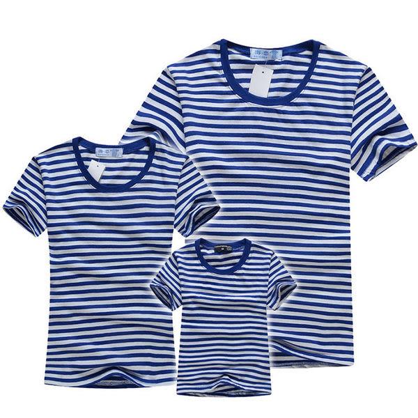 親子裝。海軍魂橫條紋短袖T恤家庭裝/情侶裝 (AD40408) *繪米熊童裝*