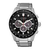 CITIZEN 光動能撼動世界計時三眼腕錶-銀X黑