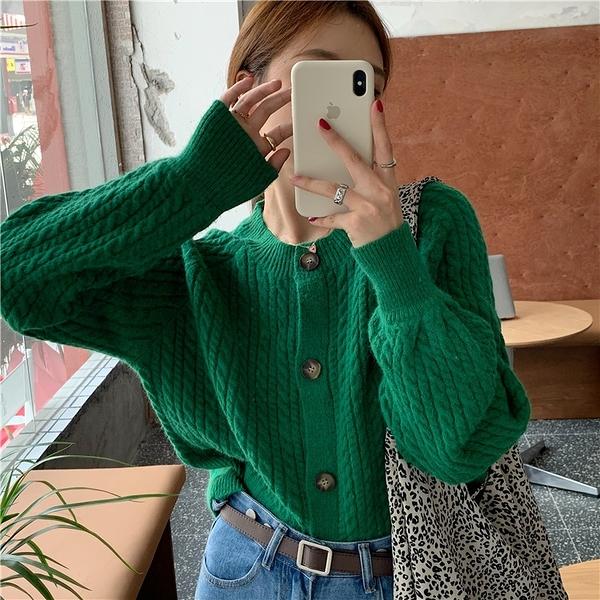 針織外套綠色毛衣女秋冬外穿新款復古慵懶風寬松短款針織開衫外套潮 優拓