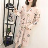 睡裙女士春秋季長袖韓版學生甜美可愛清新日式和服長款浴袍睡袍冬