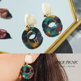 耳環 Space Picnic|復古印花簍空圓圈耳夾/耳針(預購)【C18092010】