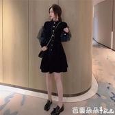 大碼女裝2019新款洋氣法式復古金絲絨長袖中長款胖妹妹洋裝女『快速出貨』