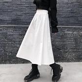 百褶長裙 秋冬半身裙女秋季中長款高腰顯瘦風白色百褶a字長裙潮-Milano米蘭