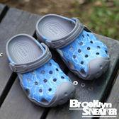 Crocs 灰水藍 水波紋 洞洞 水鞋 涼鞋 童鞋 (布魯克林) 2017/7月 204451-90N