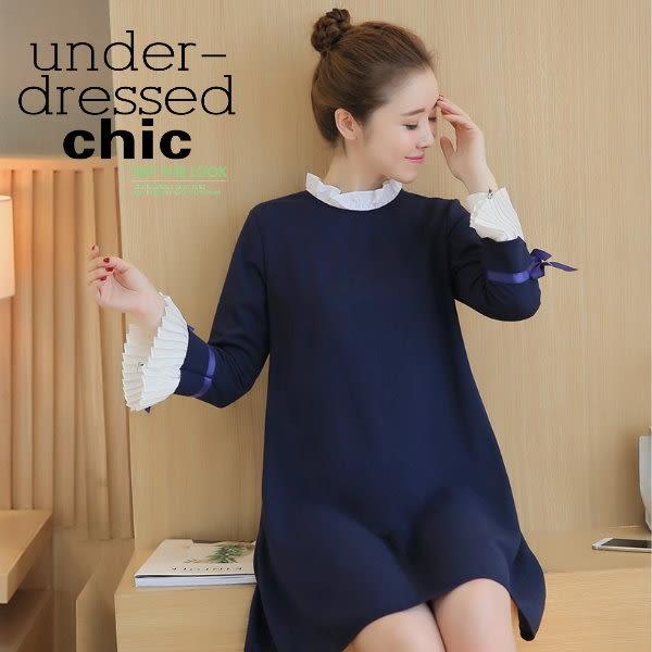 *桐心媽咪.孕婦裝*【CT0210】亮眼清新.造型袖口孕婦連衣裙-藍色