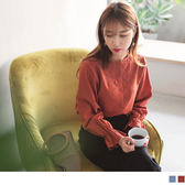 《AB4975》花朵刺繡高含棉荷葉袖圓領襯衫 OrangeBear