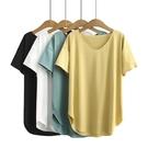 涼感衣 夏裝大碼女士短袖上衣正韓寬鬆V領簡約涼感短袖T恤-Ballet朵朵