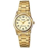 【CASIO】經典淑女時裝時尚金數字指針腕錶-金面(LTP-V001G-9B)