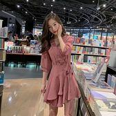 VK旗艦店 韓系系腰帶收腰雪紡荷葉邊短袖洋裝