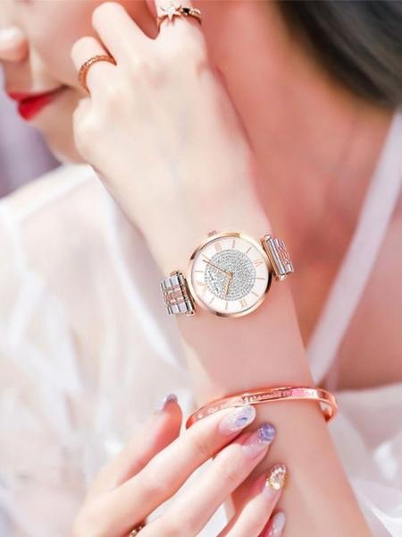 正品阿瑪尼滿天星手表女士2020新款十大名牌簡約氣質輕奢代用女表