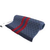 【GUCCI】條紋GG LOGO羊毛圍巾(丹寧藍/紅色) 147351 4G704 4273