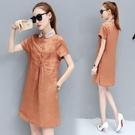 棉麻洋裝 2020夏裝新款寬鬆純色休閒顯瘦遮肚子中長款大碼棉麻襯衫連身裙 JX1583『優童屋』