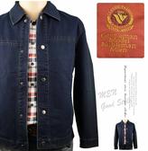 【大盤大】CLASSIC FASHION 牛仔外套 男 L 長袖 薄夾克素面 有領 釦 百貨專櫃 帥氣簡約 周年慶