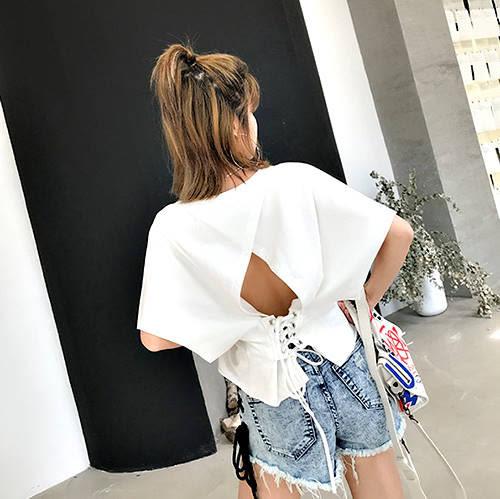 克妹Ke-Mei【AT52870】獨家,愛死了!性感摟空綁帶美背造型T恤上衣