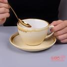 咖啡杯碟 套裝拉花拿鐵陶瓷意式濃縮復古大口小奢華精致的歐式碟ins 6色