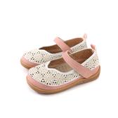 小女生鞋 娃娃鞋 童鞋 白/粉 花朵 中童 37127 no127
