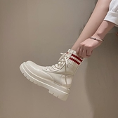 網紅厚底馬丁靴女2020秋新款英倫風ins潮瘦瘦靴復古黑色機車短靴