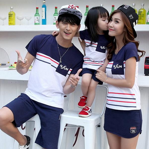 ★韓版SH-S836★《N.FUN拼色款》短袖親子裝♥情侶裝