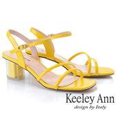★2019春夏★Keeley Ann造型透視跟 素雅線條中跟涼鞋(黃色) -Ann系列