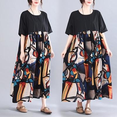 洋裝 連身裙 夏裝新款韓版拼接抽象印花胖mm寬松顯瘦女裝短袖連身裙MC062 胖妞衣櫥