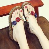 夾腳拖鞋 沙灘鞋拖鞋女夏時尚外穿海邊防滑厚底坡跟夾腳涼拖度假花朵人字拖 【時尚新品】