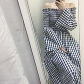 洋裝閨蜜衣春季新款韓風甜美一字領露肩中長款收腰格子洋裝修身喇叭袖長裙