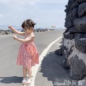 吊帶連身裙2020夏季新款網紅童裝女童連身裙兒童洋氣吊帶條紋裙6479 小天使